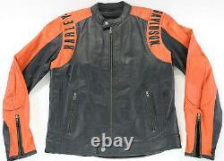 Mens harley davidson leather jacket L black orange perforated BAR SHIELD zip euc