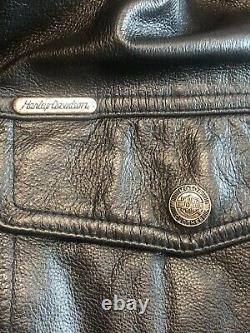 Mens harley davidson leather shirt jacket 2XL black bar shield snap