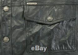 Mens harley davidson leather shirt jacket 2XL black bar shield snap 98111-98VM