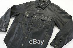 Mens harley davidson leather shirt jacket L black bar shield snap 98111-98VM
