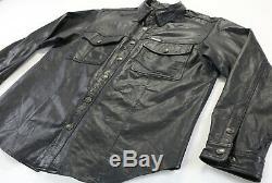 Mens harley davidson leather shirt jacket L black bar shield snap 98111-98VM zip