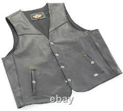 Mens harley davidson leather vest 2XL black basic skins rider snap bar shield