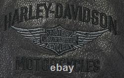 Mens harley davidson leather vest 3XL XXXL black Juneau snap bar shield pebbled