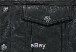 Mens harley davidson leather vest 3XL XXXL black snap bar shield pebbled collar