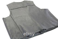 Mens harley davidson leather vest 4xl black orange stock bar shield snap up nwt
