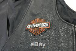 Mens harley davidson leather vest L black orange stock bar shield snap 98150-06