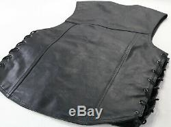 Mens harley davidson leather vest M L black piston ii snap lace up bar shield