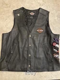 Mens harley davidson leather vest XL black orange stock bar shield snap up