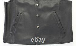 Mens harley davidson leather vest XL black orange stock bar shield snap up nwt