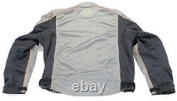 Mens harley davidson mesh jacket L gray orange black reflective armor bar shield