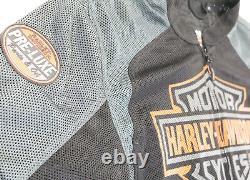 Mens harley davidson mesh jacket XL Bar Shield black orange gray zip lightweight