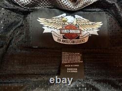 Mens harley davidson mesh jacket bar shield gray/black reflective armor