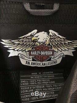 Mens harley davidson mesh jacket xl gray black orange mesh armor bar shield zip