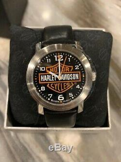 NEW Bulova Mens Watch HARLEY DAVIDSON Bar & Shield Logo NIB 76A04 Leather Band