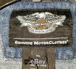 NEW Harley-Davidson Men's Bar & Shield Denim Jean Jacket Size 3XL NEW RN 103819