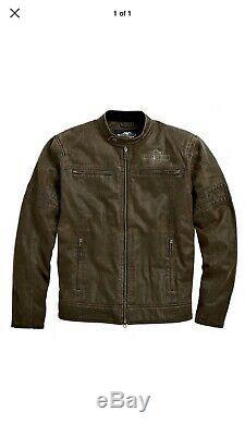 NEW Harley-Davidson Mens Hornback Moto Bar & Shield Casual Jacket Brown Size Med