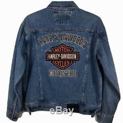 New! Harley-Davidson Denim Trucker Jacket Mens Medium blue jean Bar Shield M