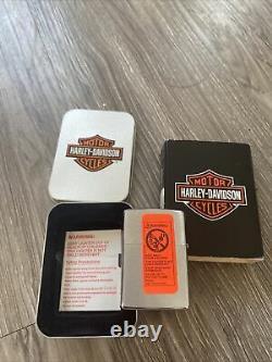 New Zippo Lighter Harley Davidson -Brass Bootstrap -Bar and Shield -200HD H215