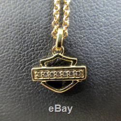 Nib Harley-davidson Gold & Diamond Bar & Shield Logo Pendant & Chain