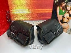 OEM 84-90 Harley Bar & Shield Thick Leather Saddlebags Softail Vintage