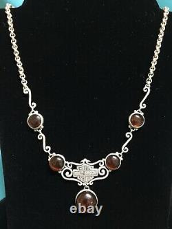 RARE HARLEY DAVIDSON Sterling Real Amber Bar & Shield Necklace Earrings Set PLUS