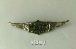 RARE Vintage 20s- 50s Silver Harley Davidson Wings Pin Bar Shield Motorcycle USA
