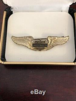 RARE Vintage 30s 40s Gold Harley Davidson Wings Pin Bar & Shield Motorcycle HOG