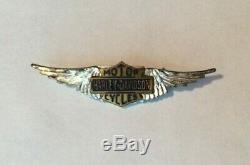 RARE Vintage 30s 40s Harley Davidson Silver Wings Pin Bar & Shield HOG HD