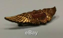 RARE Vintage 30s Gold Harley Davidson Wings Pin Bar Shield Crest Motorcycle hat