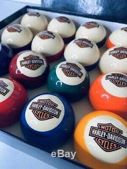 Rare Color Harley Davidson Bar & Shield Logo Flames Billiard Pool Balls Set Cue