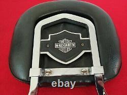 Rare Genuine 82-03 Harley Fxr Bar & Shield Backrest Upright Sportster Dyna Sissy