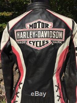 Rare Harley Davidson RIDGEWAY Pink Leather Jacket Women's Large Bar Shield