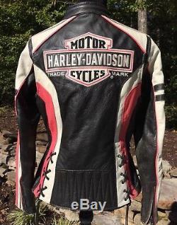 Rare Harley Davidson RIDGEWAY Pink Leather Jacket Women's Small Bar Shield