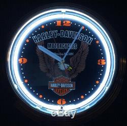 Rare Harley Davidson Wall Clock Eagle Bar & Shield Neon Light Model Spr-89 Works