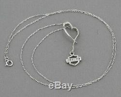 Stamper 10K White Gold Harley Davidson Diamond Bar & Shield Logo Heart Necklace