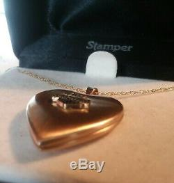 Stamper Solid 14k Gold Harley Davidson Bar & Shield Heart Locket / Necklace