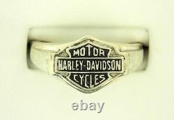 Sterling Silver Gents Harley Davidson Ring Bar & Shield Logo Classy Design