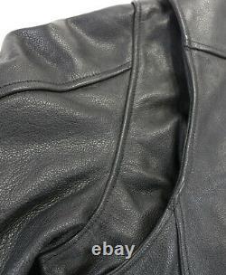 USA mens harley davidson leather jacket XL black Independence orange bar shield