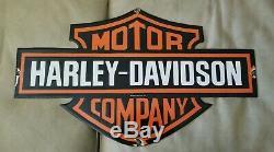 VINTAGE HARLEY DAVIDSON PORCELAIN SIGN 1954 bar and shield Large