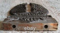 Vintage Harley Davidson Aluminum Sissy Bar Backrest Emblem Logo Shield Wings