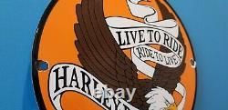 Vintage Harley Davidson Motorcycle Porcelain Gas Bike Bar Shield Bald Eagle Sign