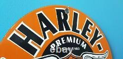 Vintage Harley Davidson Motorcycle Porcelain Gas Bike Bar Shield Wings Sign