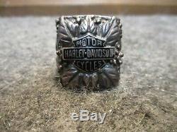 Vintage Large Sterling Silver Harley Davidson Biker Ring Maker Marked Bar Shield