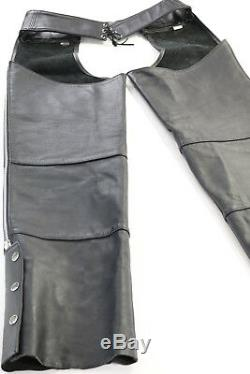Vintage USA mens harley davidson leather chaps L black basic skins bar shield