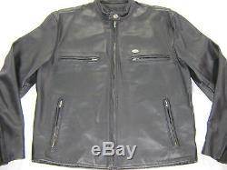 Vintage mens harley davidson leather jacket L black cafe basic skins bar shield