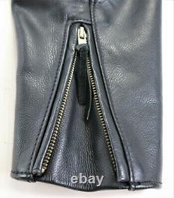Vintage mens harley davidson leather jacket M black cafe basic skins bar shield