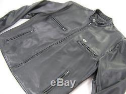 Vintage mens harley davidson leather jacket xl black cafe Basic Skins bar shield
