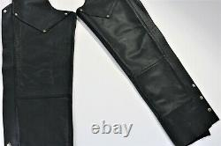 Vintage usa womens harley davidson leather chaps S black bar shield zip lined