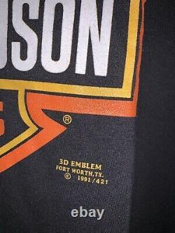 Vtg Harley Davidson Bar & Shield 3D Emblem Shirt Lightning Travis Scott Flame