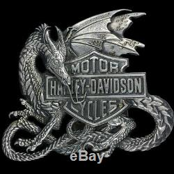 Vtg Harley Davidson Rare Dragon Bar Shield Biker Motorcycle Baron Belt Buckle